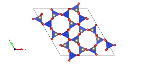 Light grey atoms are the zinc and the blue and red atoms make up the silicate units. Image generated by the VESTA (Visualisation for Electronic and STructual analysis) software http://jp-minerals.org/vesta/en/