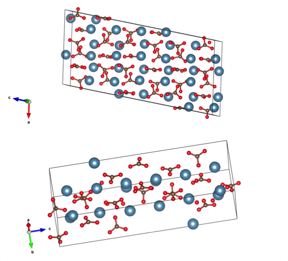 The two structures of vaterite - from work by Demichelis et al, http://pubs.acs.org/doi/abs/10.1021/cg4002972