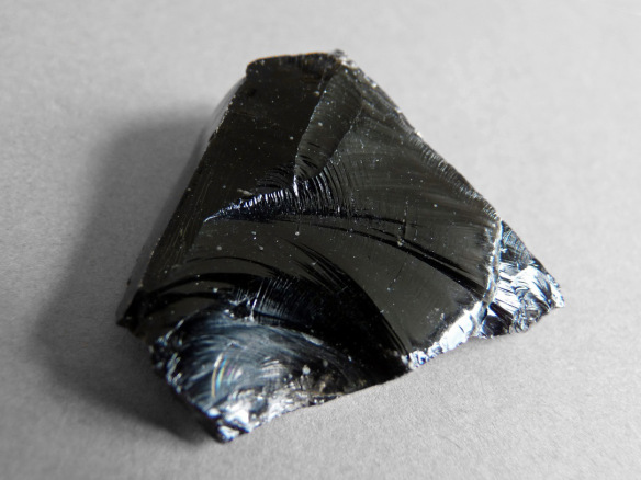 Conchoidal fracture in volcanic glass. From Wikipedia