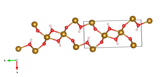 The crystal structure of goethite. The gold atoms are iron, red oxygen and pink are hydrogen. Image generated by the VESTA (Visualisation for Electronic and STructual Analysis) software http://jp-minerals.org/vesta/en/