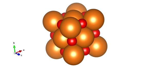Magnesium oxide, the orange atoms are magnesium and red are oxygen. . Image generated by the VESTA (Visualisation for Electronic and STructual Analysis) software http://jp-minerals.org/vesta/en/